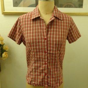 Eye Candy Red Plaid Button Down Short Sleeve Shirt
